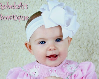 white baby headband, double stacked bows, infant headbands, hair bows for girls, boutique hairbows, boutique bows, baptism headband, girls