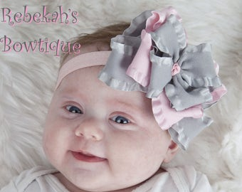 pink gray baby headband, triple layer hair bow, double ruffle hair bow, grey pink headband, hair bows for girls, infant headbands, silver