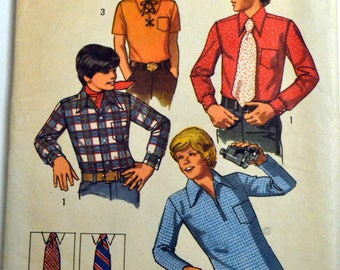 Sewing Pattern Simplicity 5099 Boys' Shirt and Tie Size 8 Chest 27 inches Complete
