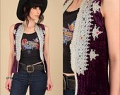 ViNtAgE 60's Purple Velvet Quilted Gypsy Vest // Embroidered Silver // India Indian Rocker Hippie Rare Small S