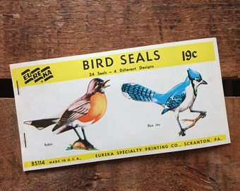 Vintage Eureka Bird Gummed Seals (Stickers, Decals) - Book of 24 Seals