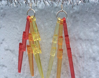 Shades of Flame Lightning Bolt Earrings w/ silvery hooks