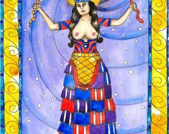 Pagan Art Goddess Minoan Snake Priestess Art Print Fantasy Art Greek Mythology Mystical Sacred Art Divine Feminine Spiritual Art