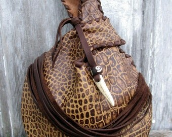 """Wristlet in Reptile Embossed Leather with Fringe """"Necklace"""",  and Deer Antler by Stacy Leigh"""
