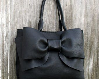 Black Leather Bow Handbag by Stacy Leigh