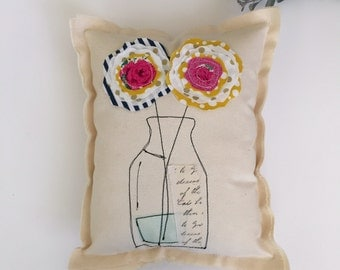 Flower Pillow,  Soft Sculpture,  Appliqued Pillow, Novelty Pillow, Flower Vase Pillow, Stitched Flower Fabric Scrap Mod Pillow,   - No. 6