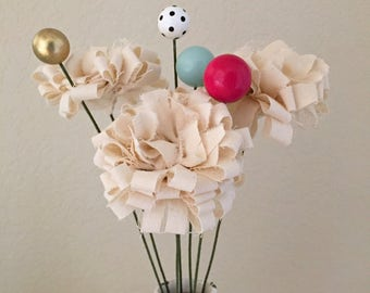 fluffy modern urban fabric flower stem bouquet, wooden bead flowers, fake, faux fabric scrap, whimsical, Spring flowers centerpiece - Set A
