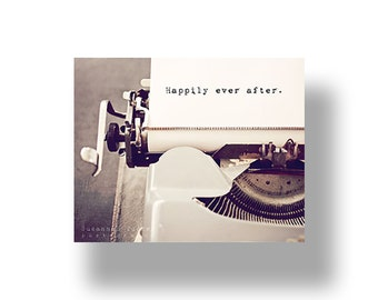 Happily Ever After typography canvas gallery wrap, vintage typewriter art, romantic canvas, romantic wall art, love, Valentines Day wall art