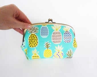 Cosmetic bag, pineapple fabric, turquoise blue cotton pineapple design, cotton purse