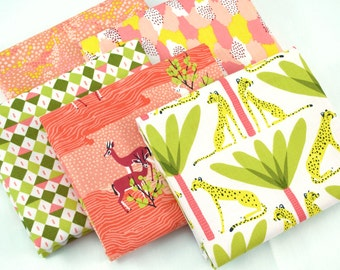 In the Sahara Fat Quarter Bundle in coral - by Katy Tanis for Blend Fabrics - 5 piece fat quarter bundle
