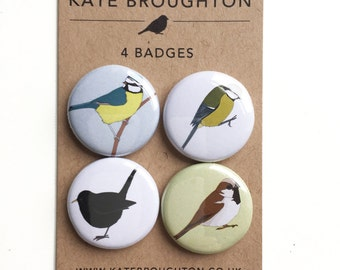 bird badges / pins / set of four / blue tit , great tit , blackbird , sparrow - wildlife illustrated  pinback buttons gift