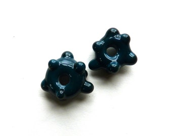Handmade Lampwork Beads - 2 Handmade Glass Spacers - Pair 2 - Spruce - Dark Teal with Dots