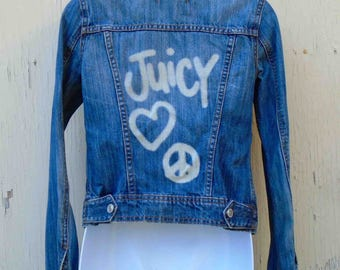 Vintage Nineties Denim Juicy Couture Jean Jacket Size Small / Graffiti Peace Love Denim USA Juicy