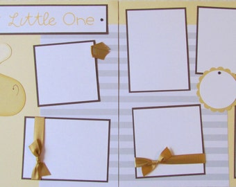 12x12 Premade Scrapbook Pages - baby boy or girl -- SWEET LITTLE ONE ~ unique handmade giraffe paper piecing