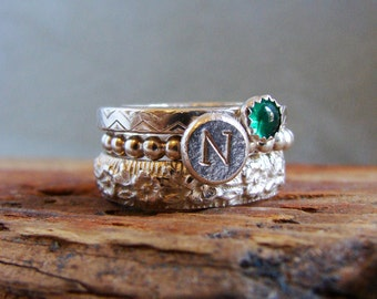 Emerald Stack Ring Initial Ring Birthstone Ring May Birthdays Gifts for Taurus Sterling Silver Rings