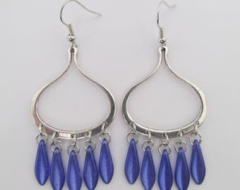 Glass Dagger Dangle Earrings - Purple Blue