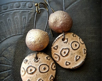 Ceramic, Peach, Golds, Rustic, Clay, Tribal, Primitive, Wire Wrapped, Organic, Beaded Earrings