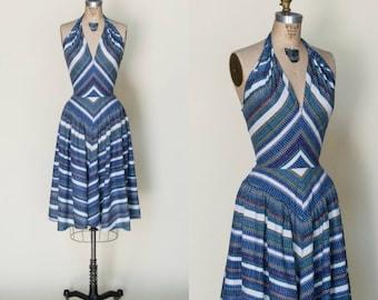 1950s Halter Dress --- Vintage Striped Chevron Dress