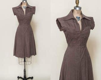 1970s Brown Corduroy Dress --- Vintage Secretary Dress
