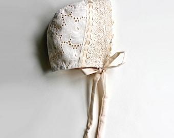 Eyelet Baby Bonnet, Toddler Bonnet, Sunbonnet, Christening Bonnet, Baptism Bonnet, Easter Bonnet, Lace Baby Bonnet, Baby Hat, CREAM color