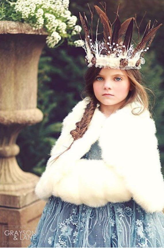 Wedding Tiara Feather Crown Woodland Tiara Crown Winter Fairy Crown for Women and Girls Fairy Wreath Winter Wreath Wedding Accessories