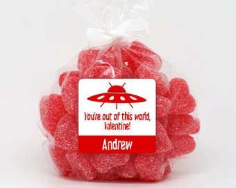 Valentine Stickers, UFO Alien Invasion Valentine Class Gift Stickers, Favor Stickers, Panda Bear Valentine, Favors, Treat Bags