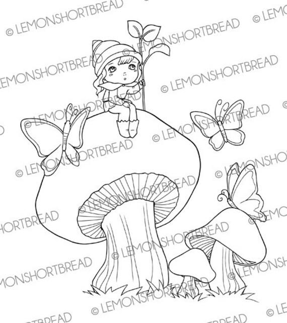 Digital Stamp Mushroom Land Elf, Digi Fantasy Fairy Pixie, Toadstool Clip Art, Coloring Page, Scrapbooking Supplies, Instant download