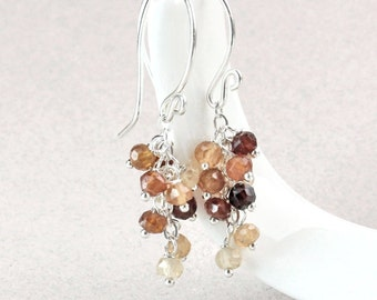 Garnet  Cluster  Earrings   Sterling Silver  Gemstone Jewelry January  Birthstone Earrings  Handmade Accessories Unique Gifts For her