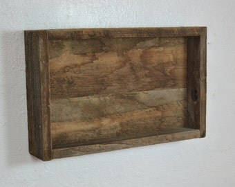Reclaimed shallow wood wall shelf rustic style wall decor