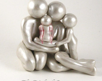 Family of 4 Legacy Sculpture - gift for pregnancy and infant loss - custom family of four 4 with angel baby - made to order