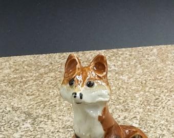 Miniature red fox -  porcelain sculpture