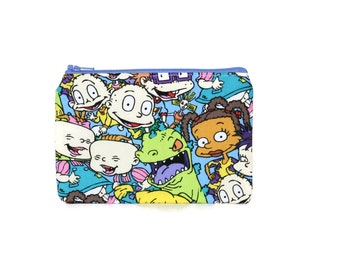 CHOOSE SIZE Rugrats Zipper Pouch / Nickelodeon 90s Rugrats Bag / Reptar Chuckie Angela Tommy Pickles
