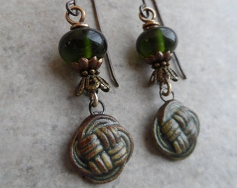 Irish Love Knots ... Petite Artisan-Made Ceramic, Lampwork and Brass Wire-Wrapped Rustic, Boho, Earthy Earrings