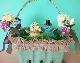 Pretty Spring Time Easter Basket Handmade Centerpiece or Vintage Style Gift