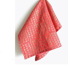 gold nuggets on pink. block print linen napkins set of four / hand printed / placemats