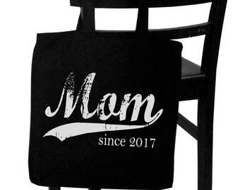 Mom since ANY year, personalized canvas tote bag, Christmas gift, custom tote bag, screen print tote, mom to be, new mom gift