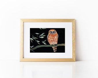 Boobook Owl Poster, Australian Native Bird Illustration