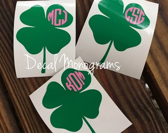 Four LeafClover Monogram/ Shamrock Monogram/ Lucky Shamrock Sticker/ Clover Decal/ Clover Sticker
