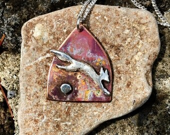 Fire fox, Leaping Fox icon necklace in copper and silver
