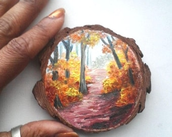 """Mini Oil Painting Landscape Fall Trees on Wood Slice 2.75"""" READY TO SHIP"""