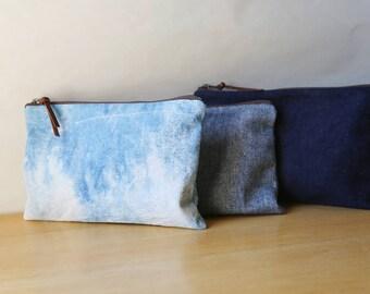 Natural Indigo Cotton Canvas Pouch / Hand Dyed