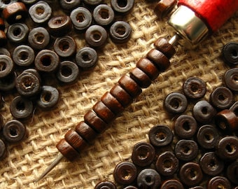 6mm Brown Wooden Heishi Beads - Over 200 - Glossy Coffee Brown Donut Rondelle Disc Beads, Wooden Ring Beads, Lead Free (WBD0140)