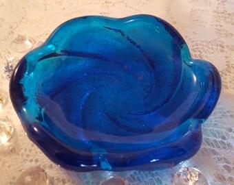 Fenton Glass Heavy weight Vintage Blue Swirl Ashtray