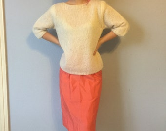 Vintage Skirt - Coral Raw Silk Handmade 1960s - Medium Small