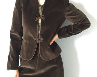 Vintage Suit by Sasson Skirt Blazer Jacket -size 4/5 1980s - Brown Velour