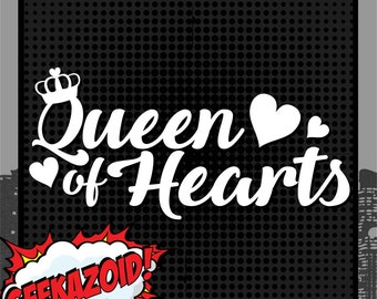 Queen of Hearts - Large Vinyl Decal - Alice in Wonderland Lewis Carroll Die Cut Wall Art