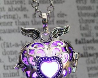 Glowing Pendant Winged Heart Locket Purple LED jewelry