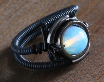 Opalite moonstone ring, Black metal finish, Cyberpunk Jewelry