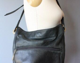 vintage leather bucket bag / black leather slouchy hand bag / soft leather shoulder bag