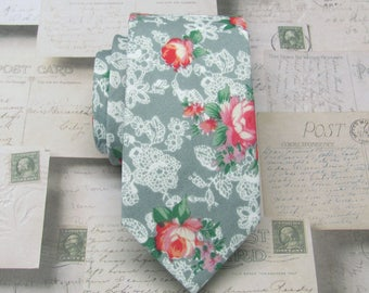 Cotton Mens Tie. Cotton Gray Teal Green Red Floral Skinny Tie With Matching Pocket Square Option